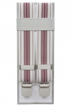 Grey and Burgundy Striped Trouser Braces With Large Clips